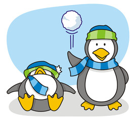 Vector cartoon of little penguins with snow