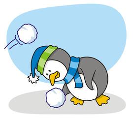 Vector cartoon of little penguin with snow