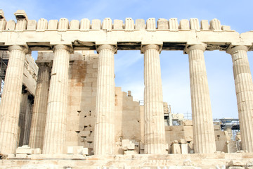 The Parthenon at the Acropolis of Athens in Athens, Greece,