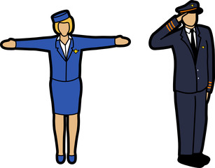 Air Hostess and Pilot