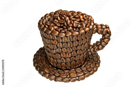 kaffeetasse aus kaffeebohnen stockfotos und lizenzfreie bilder auf bild 5893078. Black Bedroom Furniture Sets. Home Design Ideas
