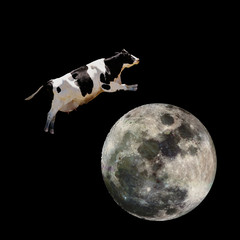 Fototapete - A cow jumping over the moon