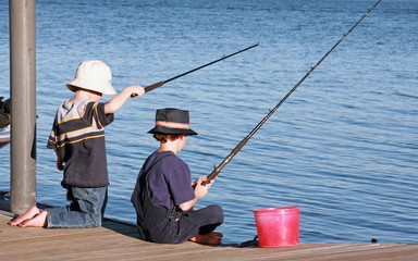Boys Fishing off the Pier