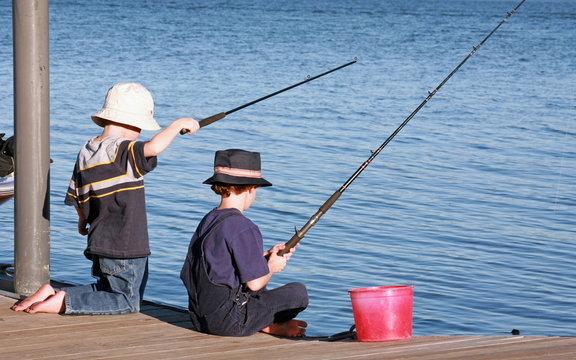 Boys Fishing off the Pier