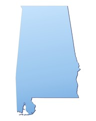 Alabama(USA) map filled with light blue gradient