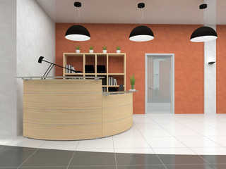 Modern reception in office 3D rendering