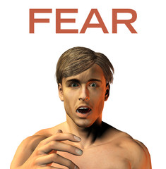 young man face expression - Fear - Horror - 3d render image