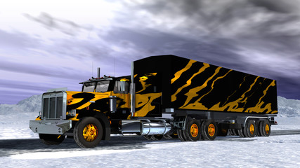 lorry on snow