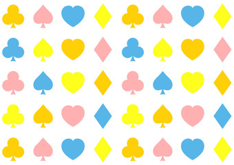 nursery pattern of clubs, hearts, diamonds and spades
