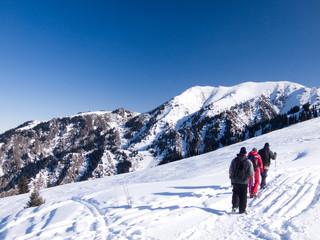tourists on mountains