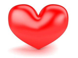 big red heart on a white background