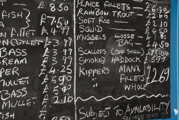 Fishmonger blackboard