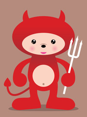 cute red devil vector illustration - easy to edit!