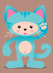 cute blue kitty cat vector illustration - easy to edit!