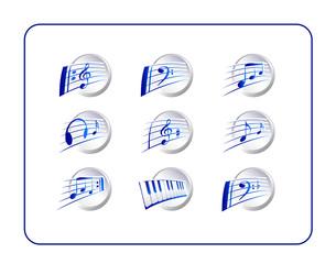 Music icon Set, silver-blue. Digital illustration.
