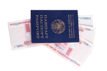 Belorussian passport witn currency isolated over white