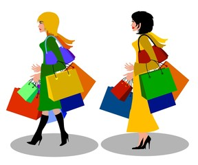 frauen beim shopping