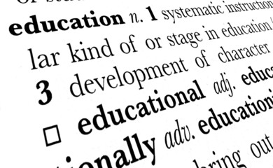 Education word dictionary definition in great perspective