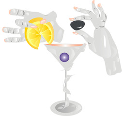 Human hands make cocktails.