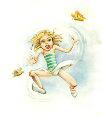 Jumping little girl with butterfly