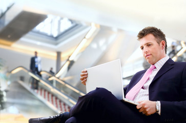Businessman in lobby