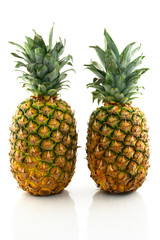 Two ripe pineapples reflecting on white background.