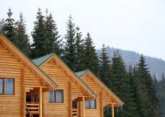 Wooden houses in the winter in Carpathians