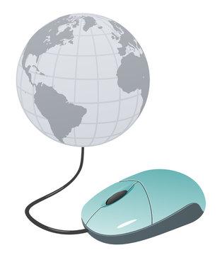 Computer world - mouse & globe