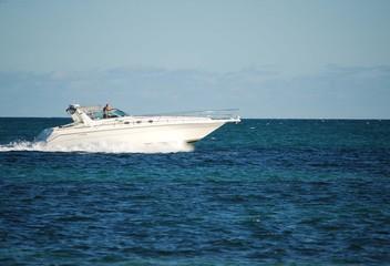 Luxury Boat in the Ocean Off Virginia Key