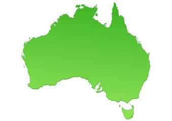 Carte de l'Australie verte