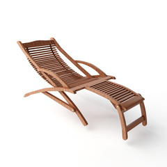 A wooden lounger isolated