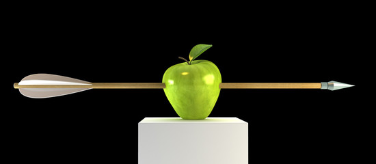 3d scene with pierced apple by arrow