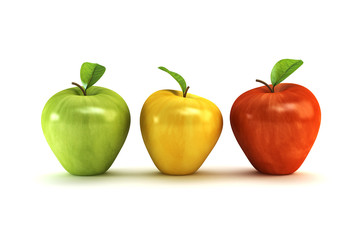the three-colour apples 3d rendering