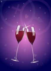 Wine Glasses with Romantic Symbols