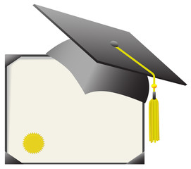 Mortarboard Graduation Cap & Diploma Certificate