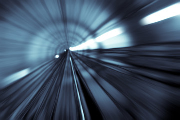 Door stickers Tunnel motion blur of tunnel