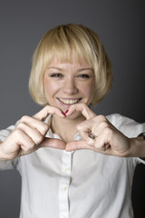 blonde shows heart