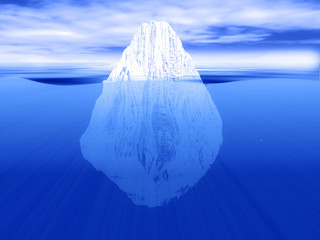3D render of an iceberg partially submerged in water
