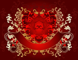 Gold On Red Valentine Day Card