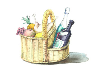 basket with tasty and useful food.