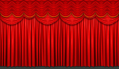 Wall Mural - Red stage curtain with arch entrance
