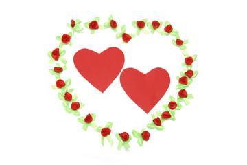 Pair of Heart Symbols on White Background