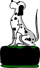 Dalmatian dog sitting on black chair