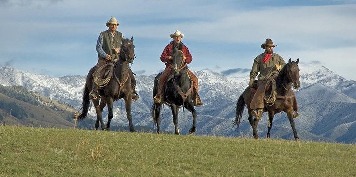 Cowboys riding the range, mountain background. Montana