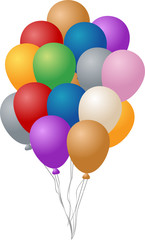 Festive party balloons, inflated and hanging by string