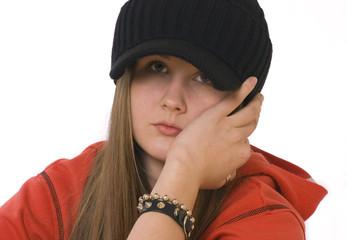 sad girl in black cap