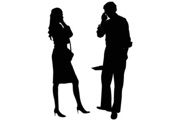 businessman and businesswoman couple talking on mobile phones