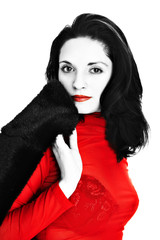 charming woman in red isolated on white background