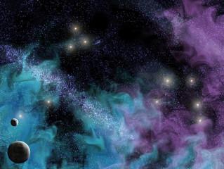 space scene with planets and smoky wispy nebula