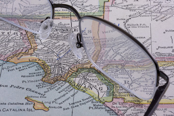 Los Angeles area on antique map  (1926) with reading glasses